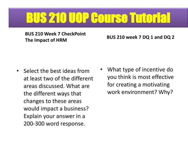 bus 210 week 1 checkpoint