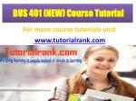 bus 401 new course tutorial