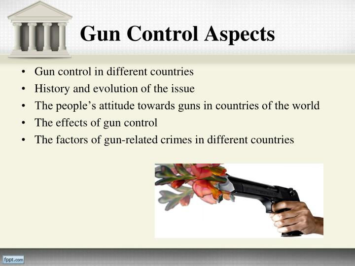 the effects of gun control One of the biggest issues involving gun control is directly correlated to its effects on crime and murder those who support the gun control movement will claim that imposing stricter firearm laws, violent crimes such as murder will decline because of having the availability of firearms curtailed.