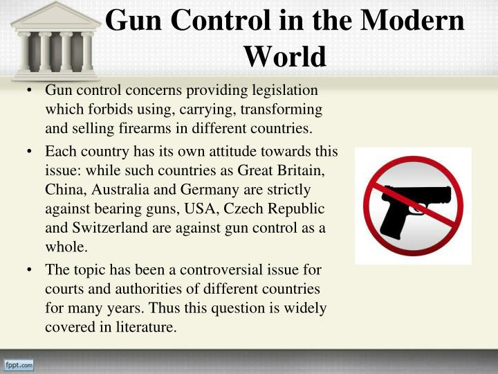 against gun control essay conclusion Gun possession and control is a controversial topic, and the writer of an essay on such a topic needs to keep that in mind dependent on the extent of the social and political climate of a land or region, countries have different policies regarding gun usage.