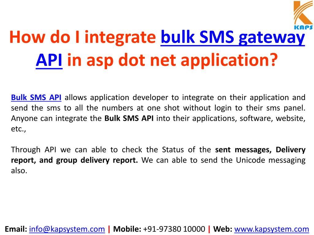 PPT - How to Integrate Bulk SMS API in ASP NET Application
