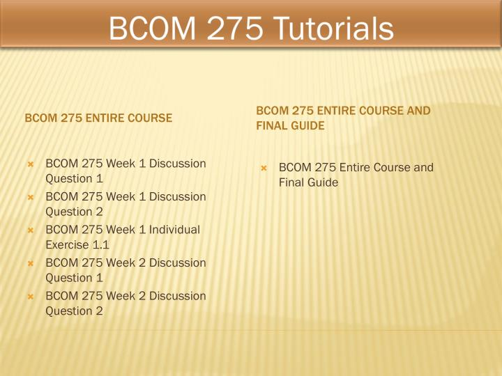 BCOM 275 Business Communication & Critical Thinking