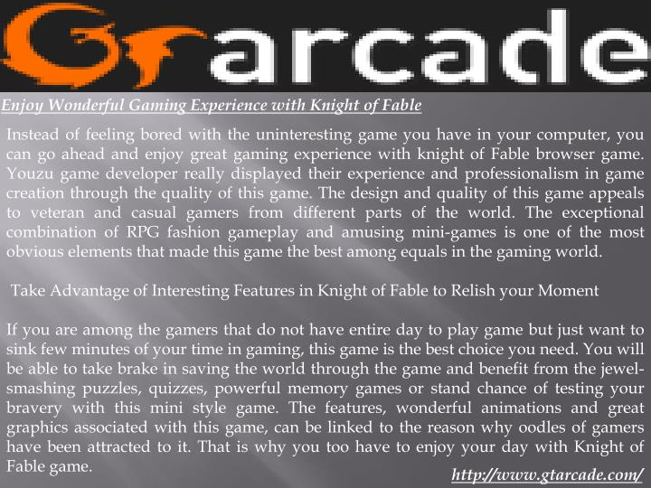 Enjoy Wonderful Gaming Experience with Knight of Fable