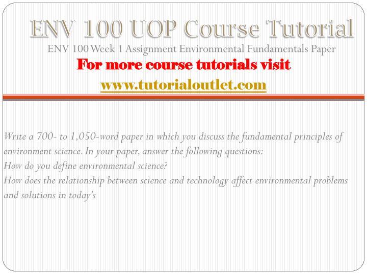 Env 100 uop course tutorial1