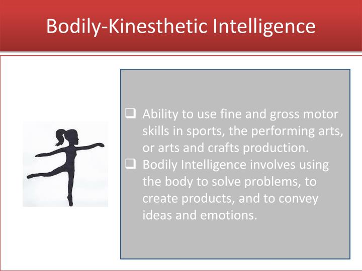 bodily kinesthetic intelligence essay Bodily-kinesthetic: using one's body to solve problems and express ideas and feelings actors, athletes, and dancers use their whole bodies in this way, much the same way that craftspeople, sculptors, and mechanics use their hands these questions can determine if an adult has a strength in.