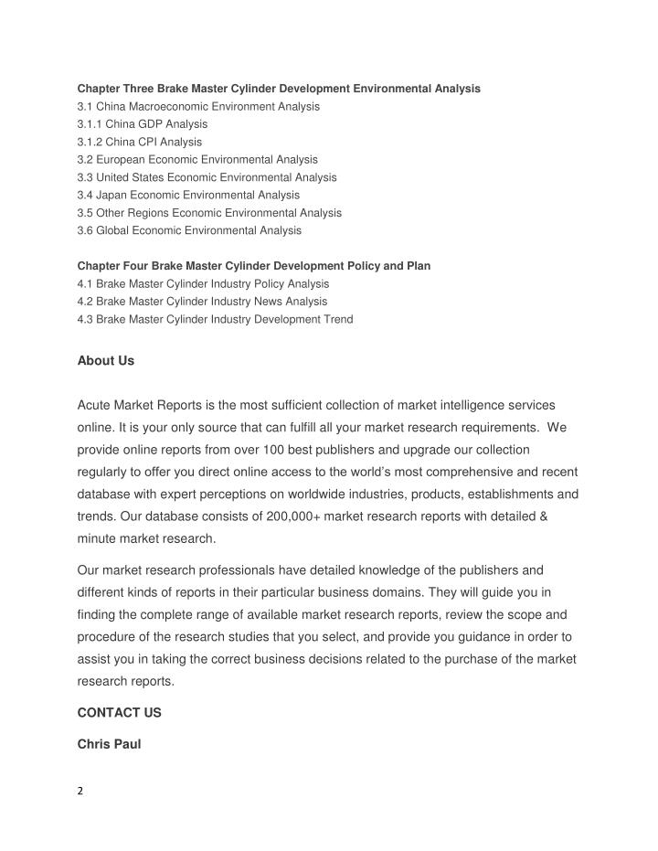Chapter Three Brake Master Cylinder Development Environmental Analysis