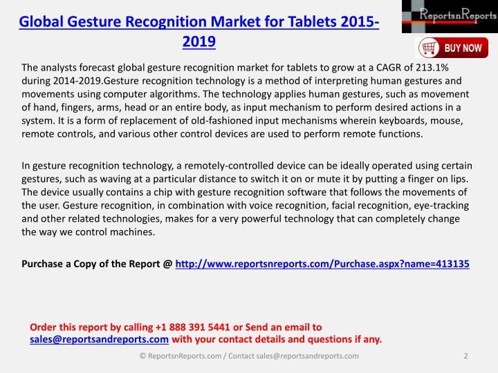 Global gesture recognition market for tablets 2015 20191