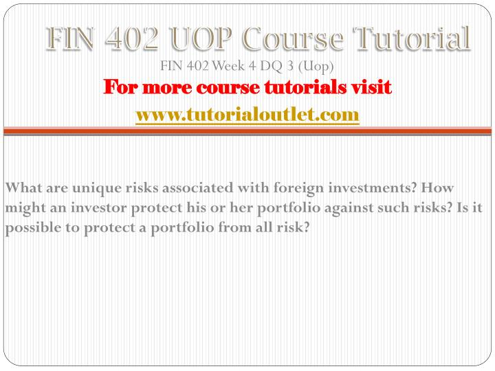 FIN 402 UOP Course