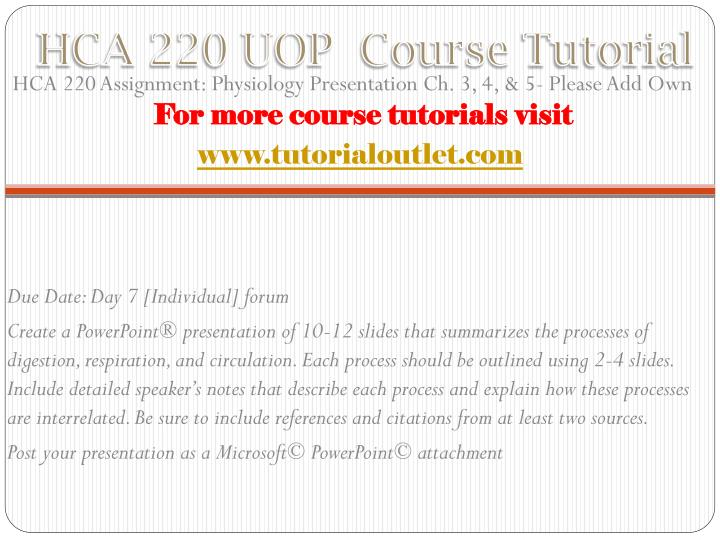 Hca 220 uop course tutorial1