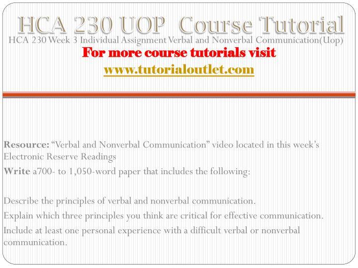 Hca 230 verbal and nonverbal communication