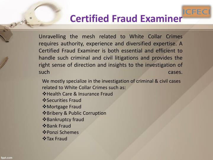 fraud examination cases Utilizing a variety of techniques including text, lecture, case studies, and occasional training videos, the course seeks to familiarize students with the conditions which facilitate fraud, the profile of the fraud perpetrator, common types of fraud, and methods of prevention, detection, and resolution.