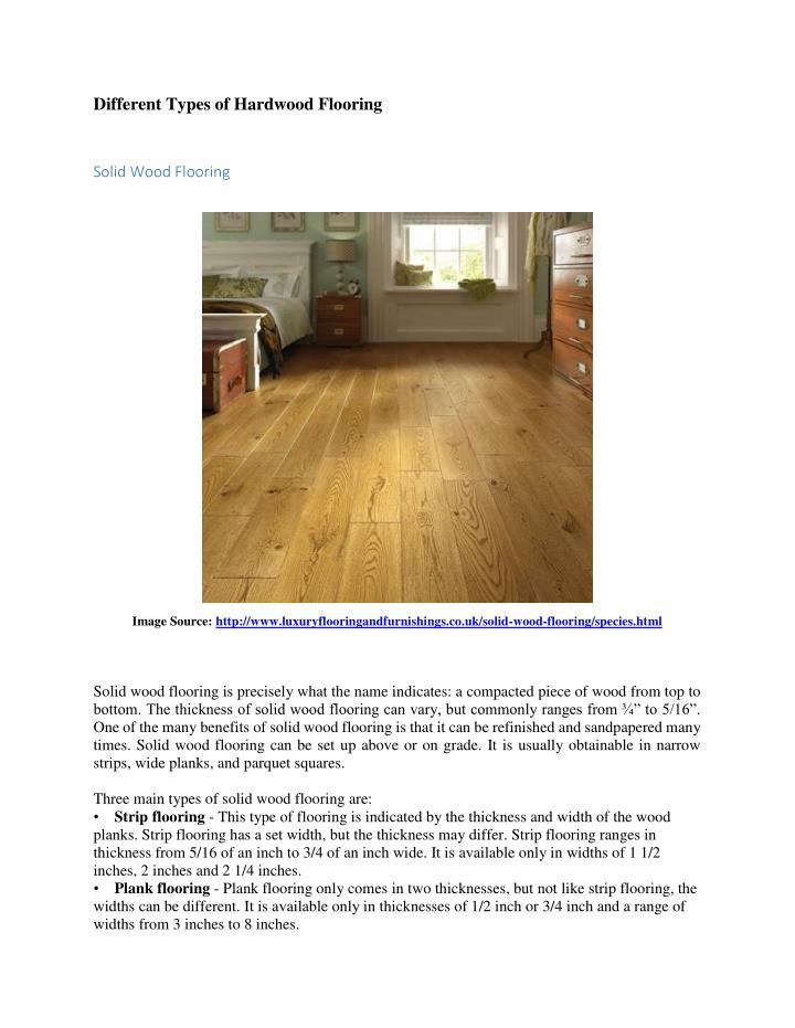 Different Types of Hardwood Flooring