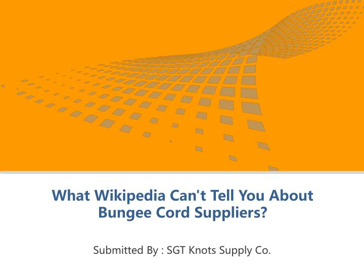 what wikipedia can t tell you about bungee cord suppliers n.
