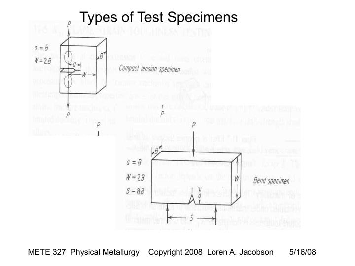 Types of Test Specimens