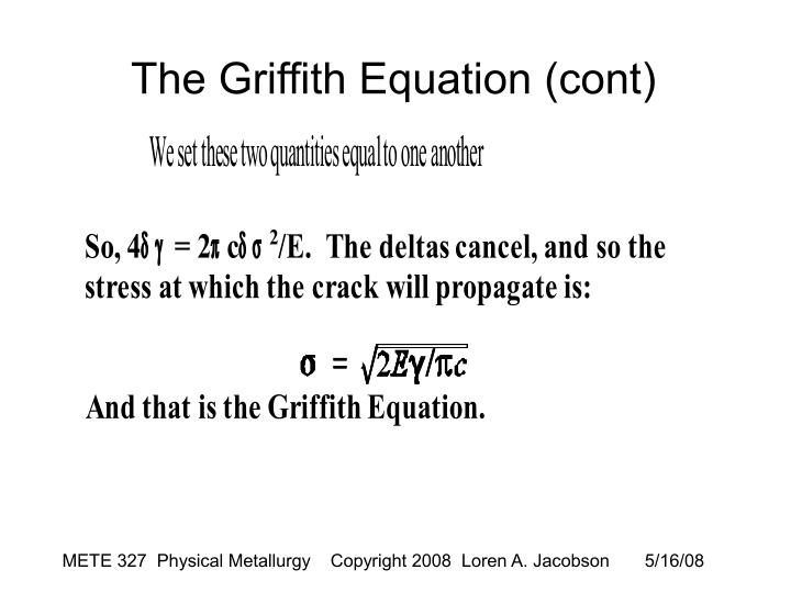 The Griffith Equation (cont)