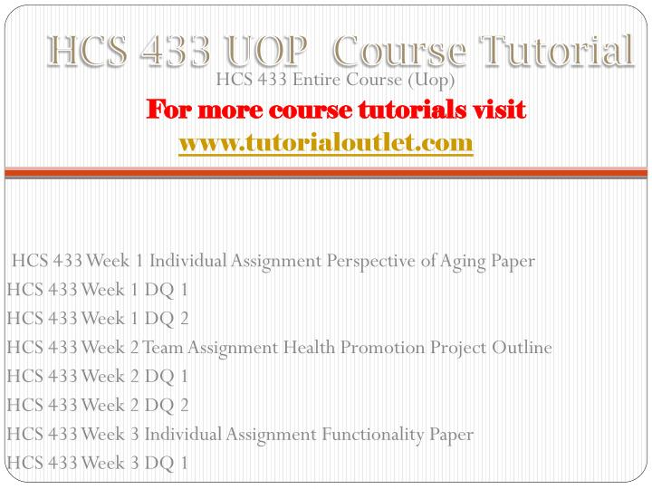 Hcs 433 uop course tutorial