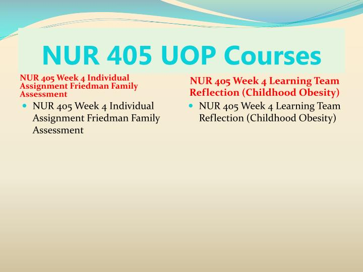 uop nur 405 reflection paper