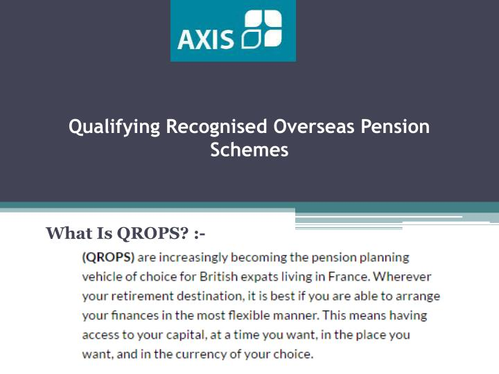 Qualifying recognised overseas pension schemes