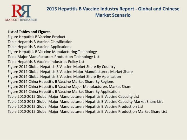 2015 Hepatitis B Vaccine Industry Report - Global and Chinese Market Scenario