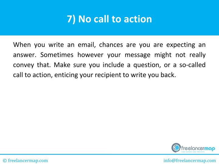 7) No call to action
