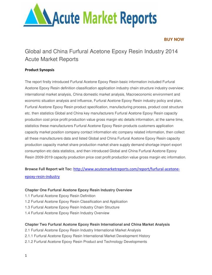 PPT - Global and China Furfural Acetone Epoxy Resin Industry
