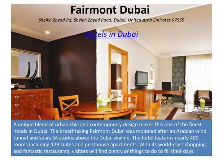 Fairmont dubai sheikh zayad rd sheikh zayed road dubai united arab emirates 97555 hotels in dubai