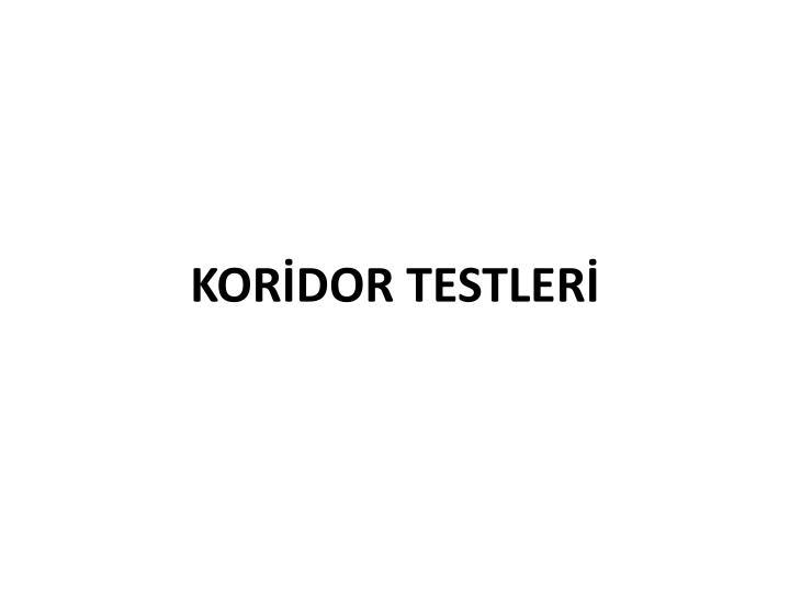 KORİDOR TESTLERİ