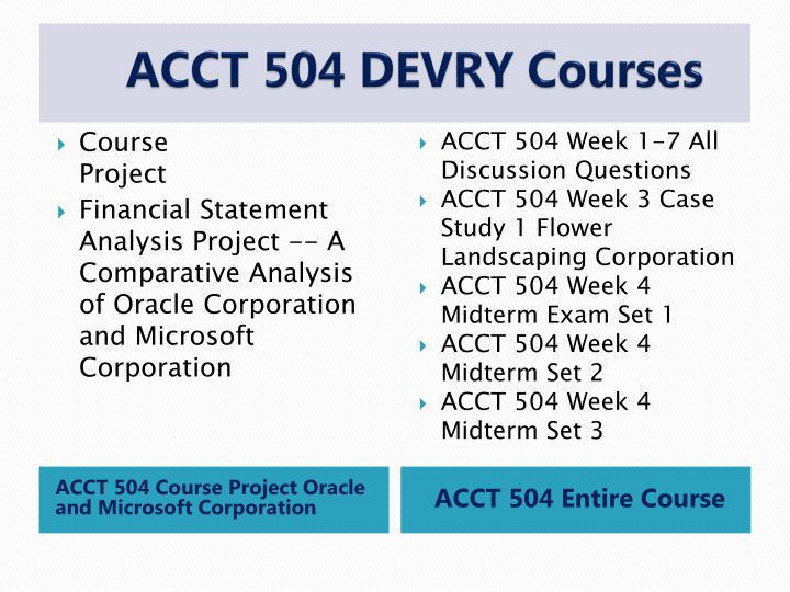 DeVry ACCT 504 Midterm Exam Answer