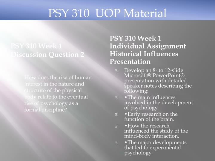 PSY 310 Week 1 Discussion Question 2