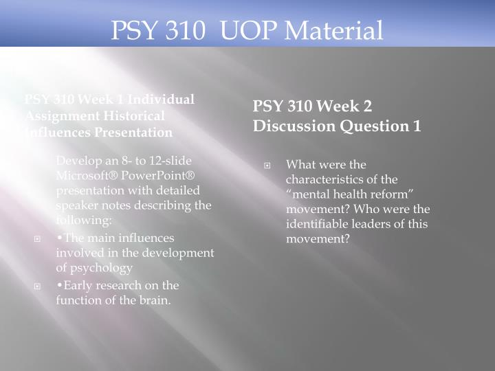 PSY 310 Week 1 Individual Assignment Historical Influences Presentation