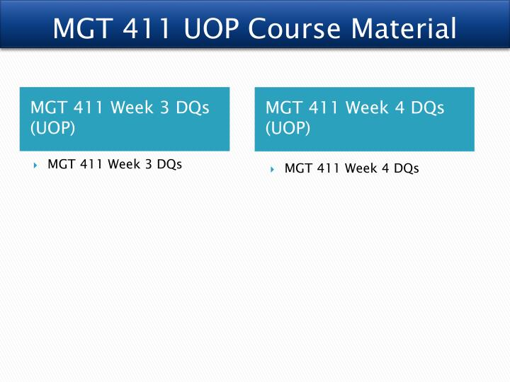 MGT 411 UOP Course Material