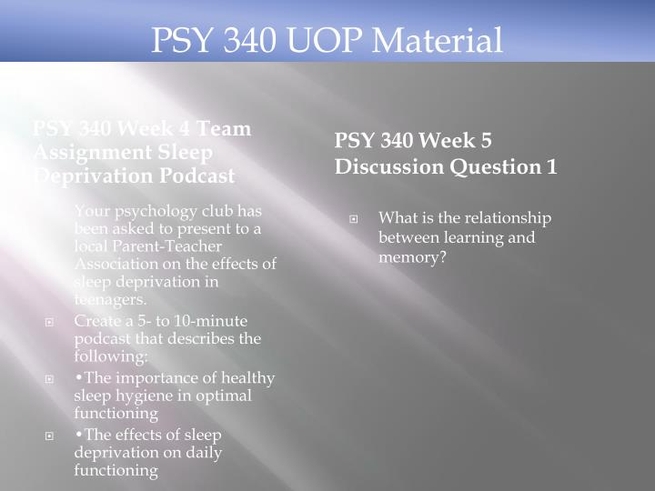 PSY 340 UOP Material