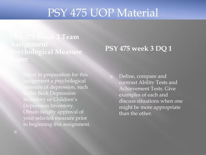 PSY 475 Week 2 Team Assignment Psychological Measure Paper