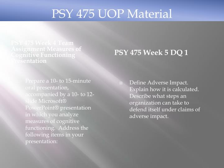 PSY 475 UOP Material