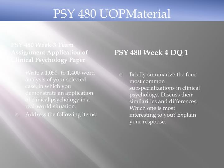 psy 480 major approaches to clinical psychology presentation View notes - major approach to clinical psychology presentation from psy 480 at university of phoenix dorothy a wood psy/480 september 23 2013 janice e williams, phd, mph discuss the.