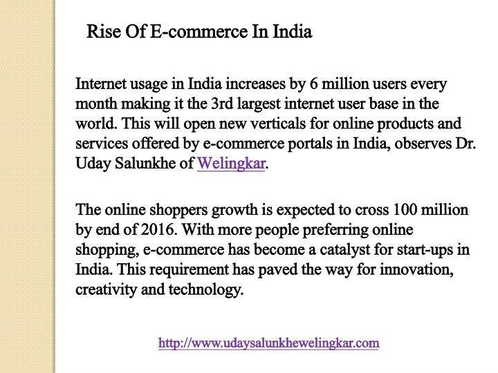 Rise Of E-commerce In India