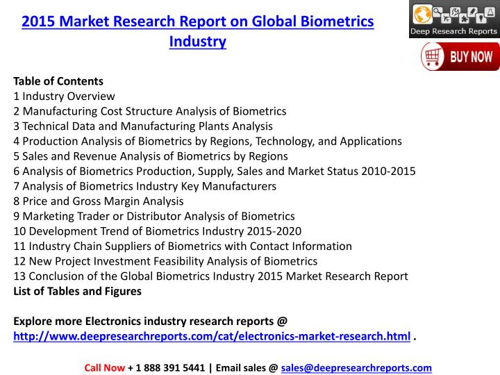 2015 Market Research Report on Global Biometrics Industry
