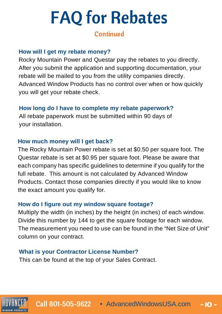 FAQ for Rebates
