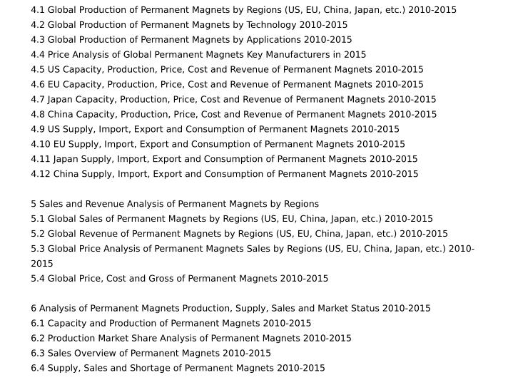 4.1 Global Production of Permanent Magnets by Regions (US, EU, China, Japan, etc.) 2010-2015