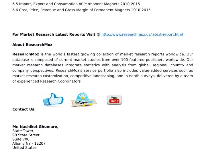 6.5 Import, Export and Consumption of Permanent Magnets 2010-2015