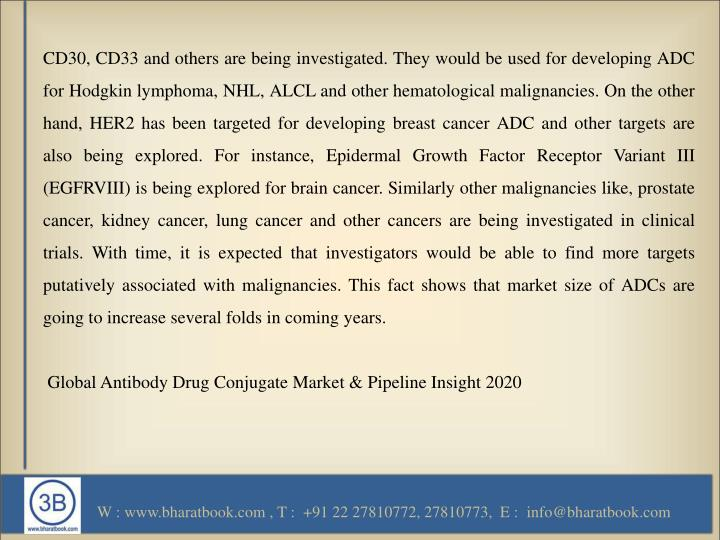 CD30, CD33 and others are being investigated. They would be used for developing ADC for Hodgkin lymphoma, NHL, ALCL and other hematological malignancies. On the other hand, HER2 has been targeted for developing breast cancer ADC and other targets are also being explored. For instance, Epidermal Growth Factor Receptor Variant III (EGFRVIII) is being explored for brain cancer. Similarly other malignancies like, prostate cancer, kidney cancer, lung cancer and other cancers are being investigated in clinical trials. With time, it is expected that investigators would be able to find more targets putatively associated with malignancies. This fact shows that market size of ADCs are going to increase several folds in coming years.