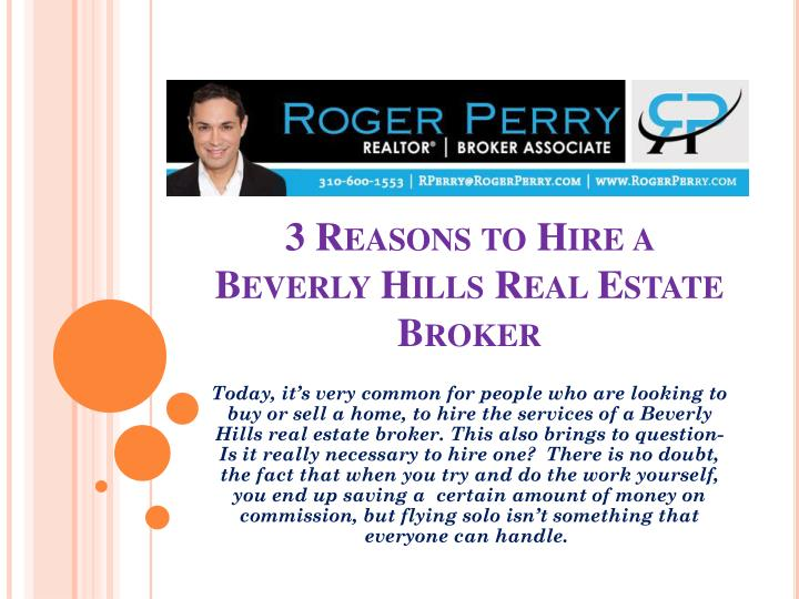 3 reasons to hire a beverly hills real estate broker n.