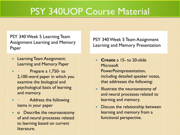 learning and memory psy 340 Psy 340 entire course link 340 week 5 learning and memory presentationcreate a 15- to 20-slide microsoft® powerpoint.