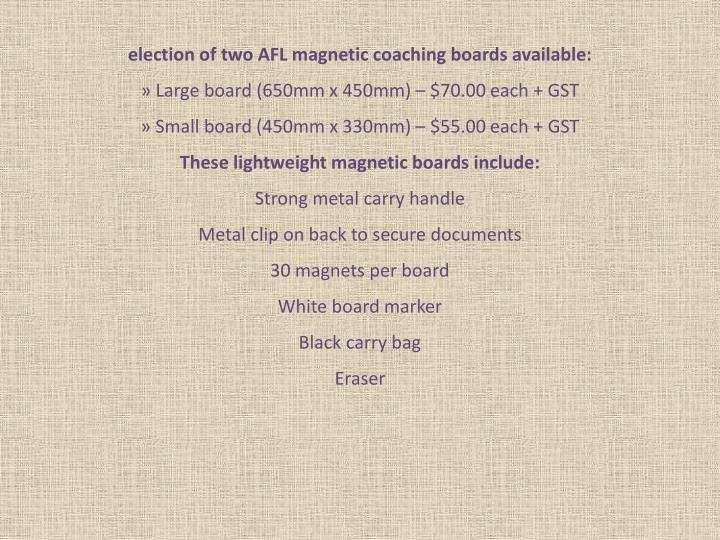Election of two AFL magnetic coaching boards available: