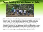 t eam building for employees in delhi