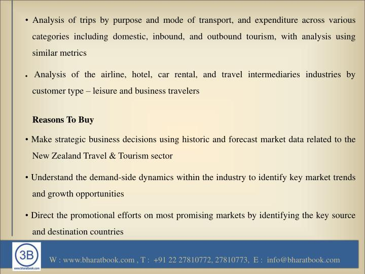 • Analysis of trips by purpose and mode of transport, and expenditure across various categories including domestic, inbound, and outbound tourism, with analysis using similar metrics