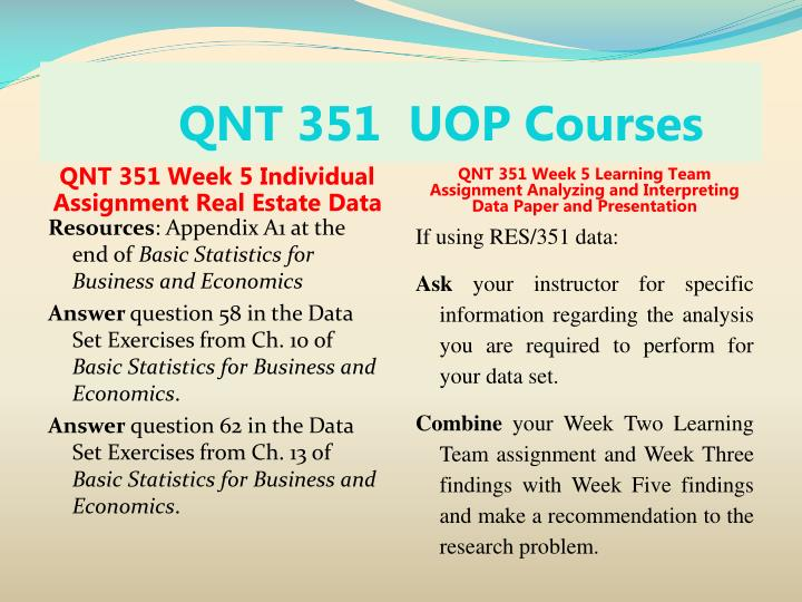 qnt 351 statistic business