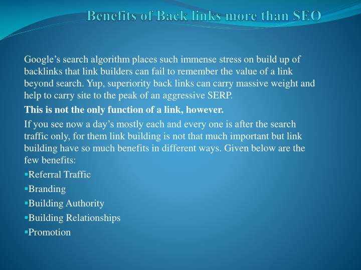 benefits of back links more than seo n.