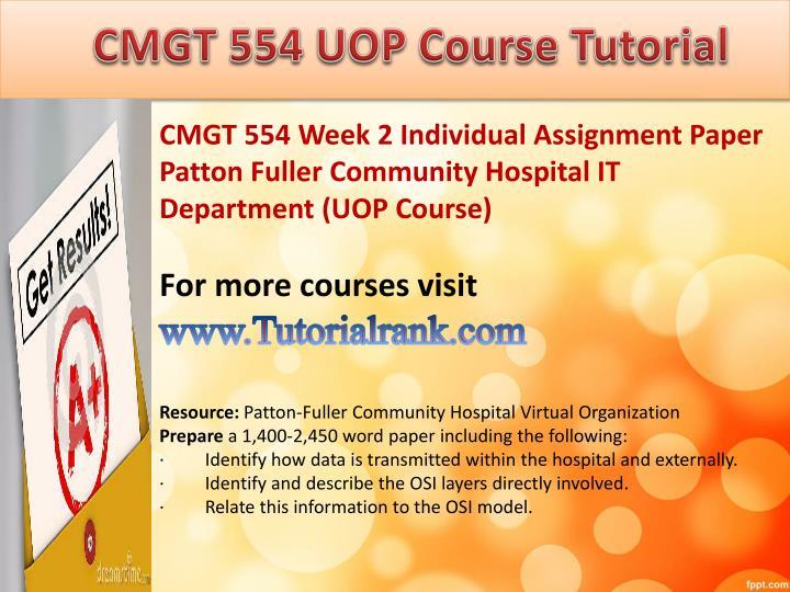 cmgt 554 week 1 individual assigment