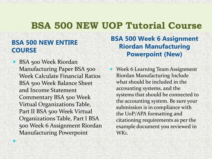 bsa 500 week 6 team assignment (nb you have to do this for an assignment also) bsa 500 week bsa 500 entire course all weeks dqs & assignments to 2 and 3 eco 365 week 2 learning team.